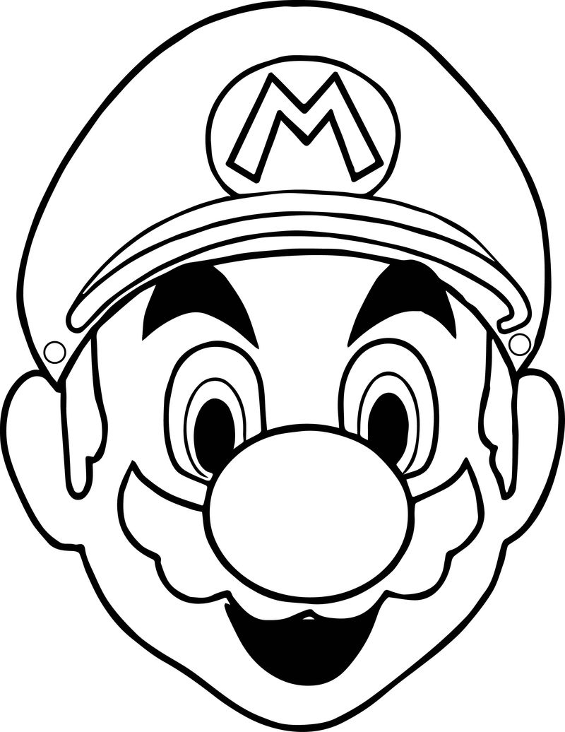 Halloween Masks Super Mario Face Coloring Page