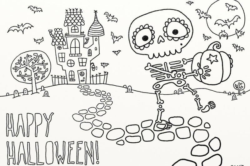 Halloween Skeleton Coloring Page