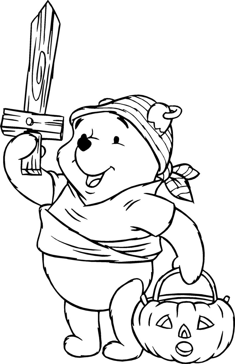 Halloween Winnie The Pooh Costume Coloring Page