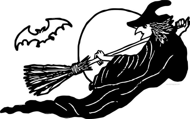 Halloween Woman Witch Bat Coloring Page