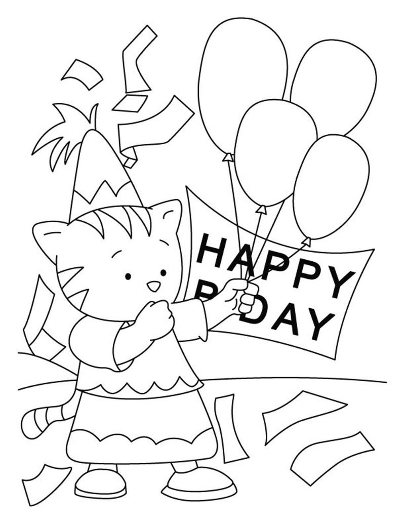 Happy Birthday Cat Coloring Pages