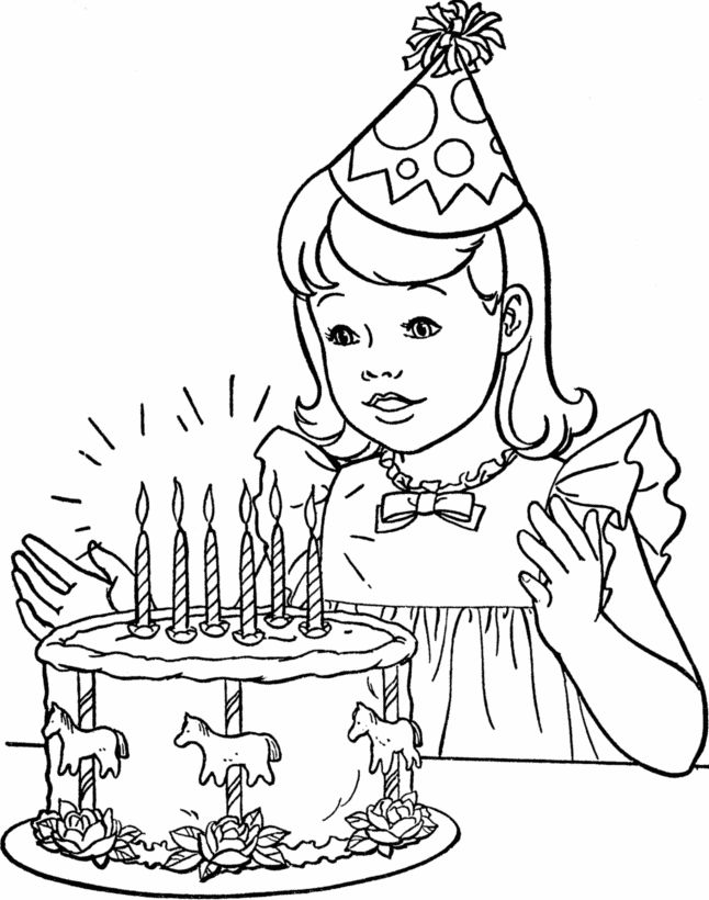 Happy Birthday Coloring Pages For Girls