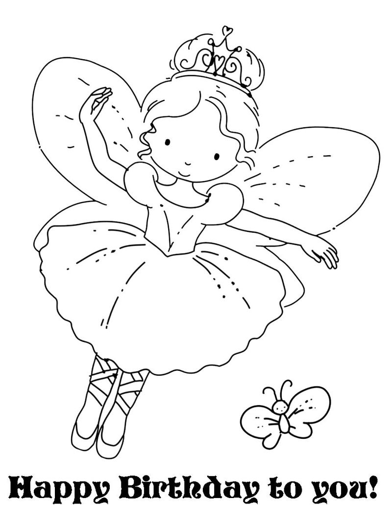 Happy Birthday Fairy Coloring Page