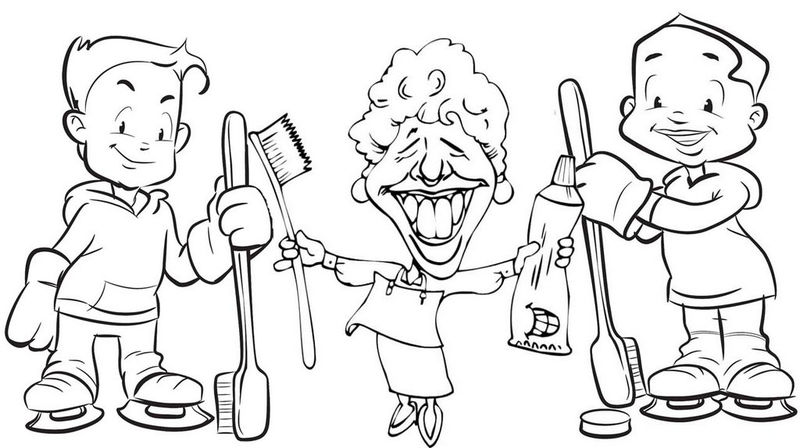 Happy Brushing Teeth Poster Coloring Page