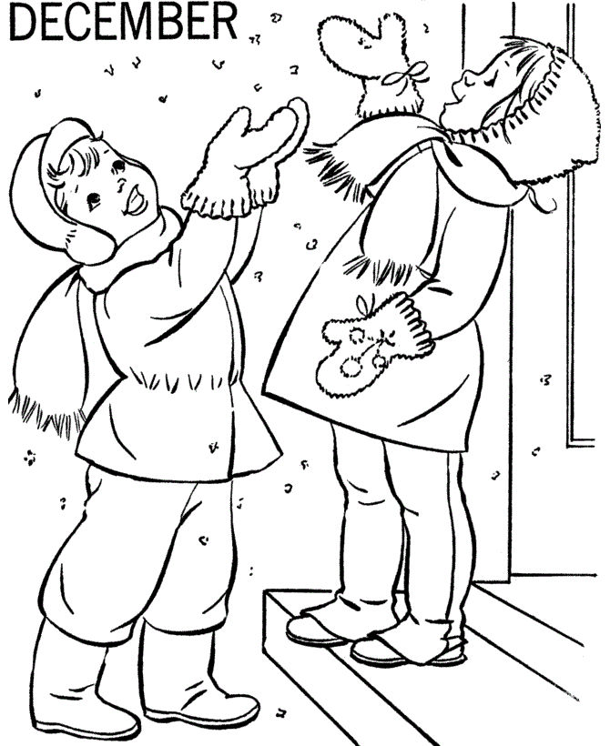 Happy December Winter Coloring Pages