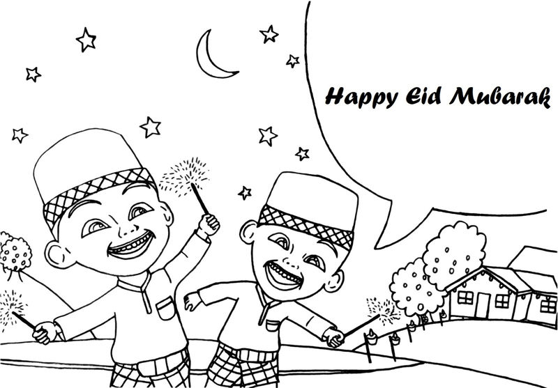 Happy Eid Upin Ipin Coloring Pages