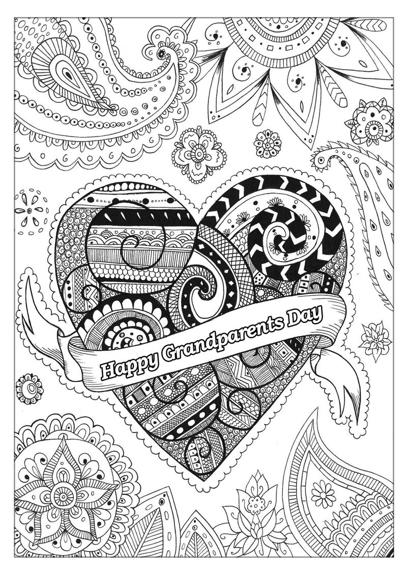 Happy grandparents day heart coloring