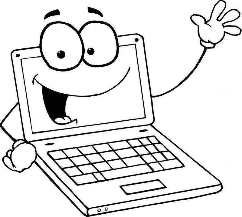 Happy Laptop Computer Coloring Pages