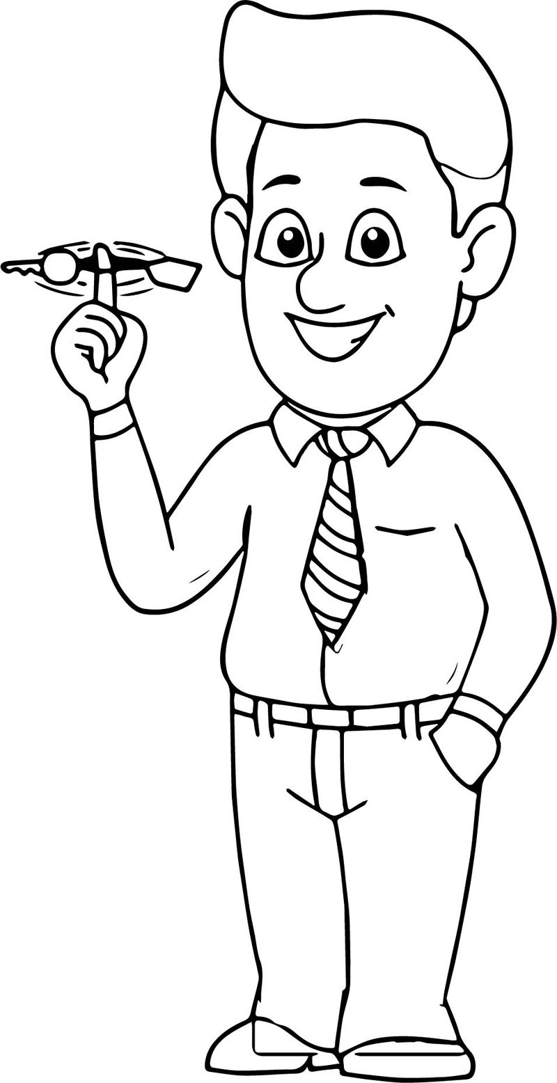 Happy Man Twirling Turning Keys In Finger Coloring Page