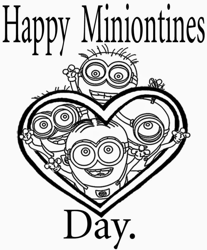 Happy Minion Valentines Coloring Page