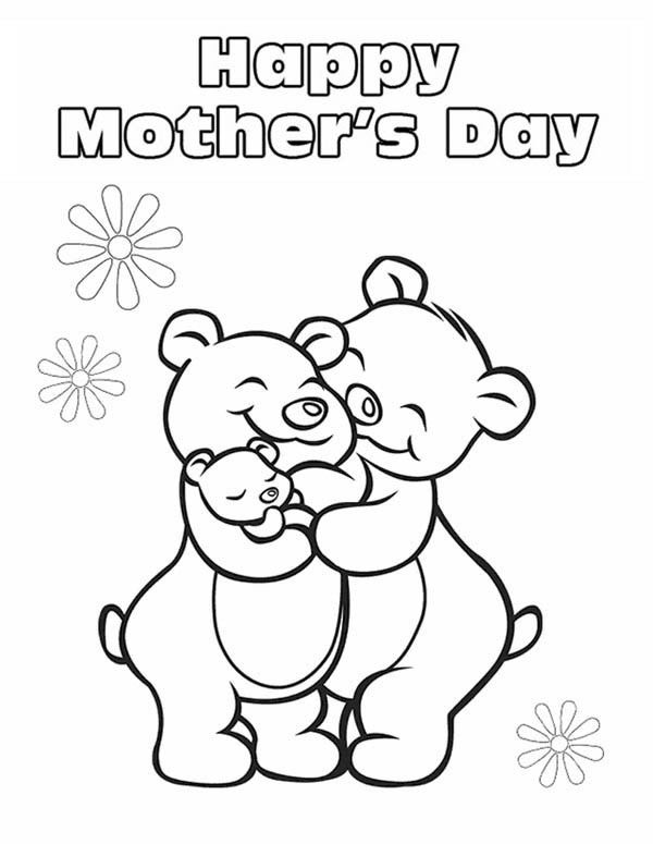 Happy Mothers Day Bears Coloring Page