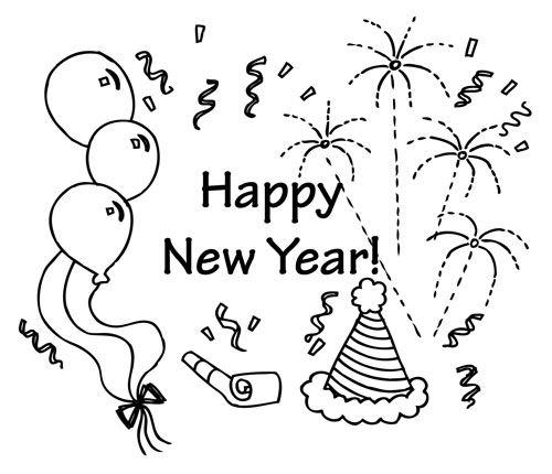 Happy New Year Celebration Coloring Pages
