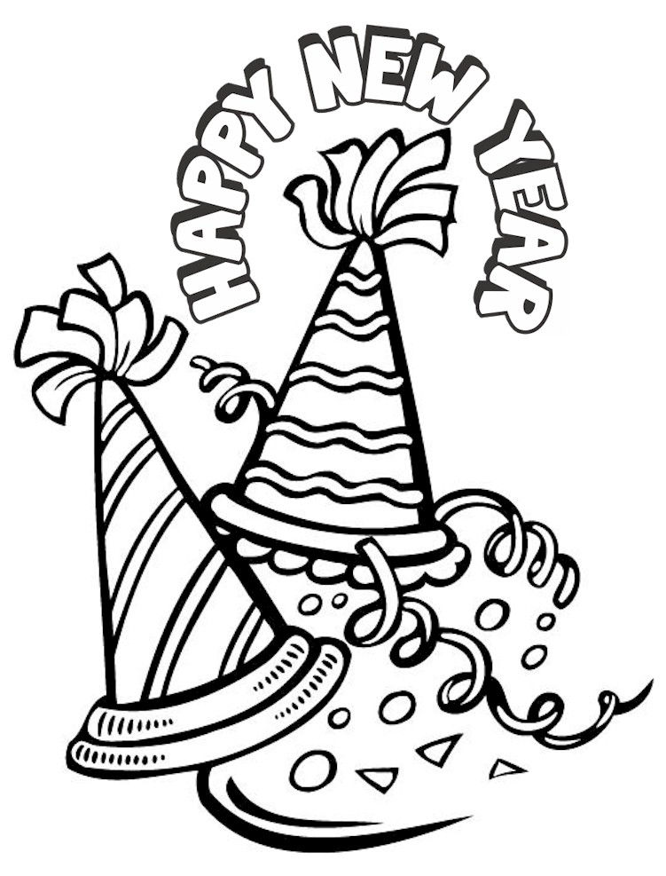 Happy New Year Party Hats Coloring Page