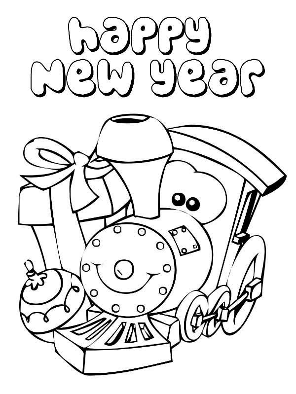 Happy New Year Train Coloring Page