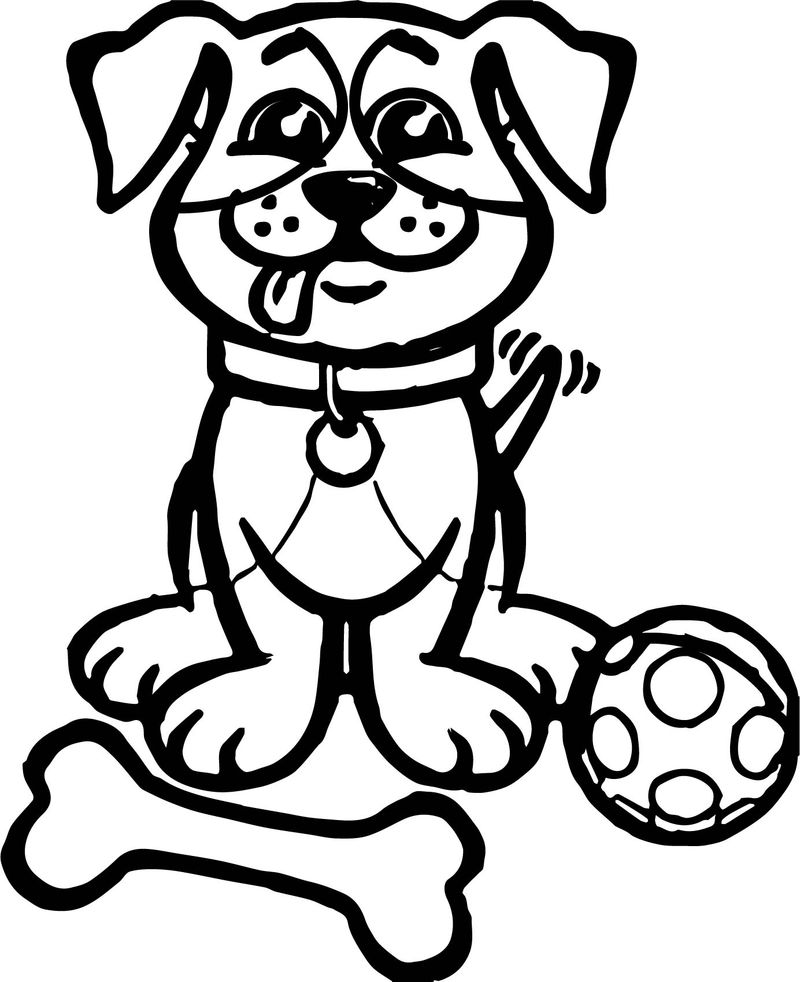 Happy Puppy And Ball Dog Puppy Coloring Page