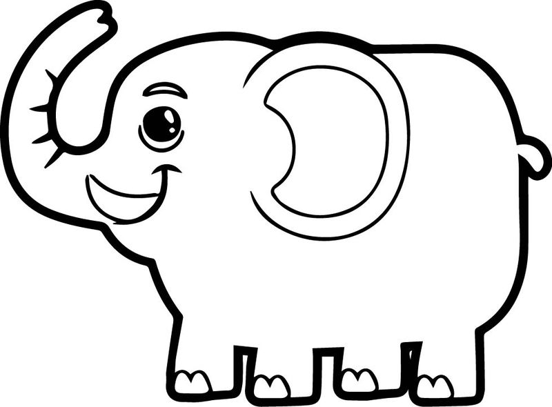Happy Side Elephant Coloring Page