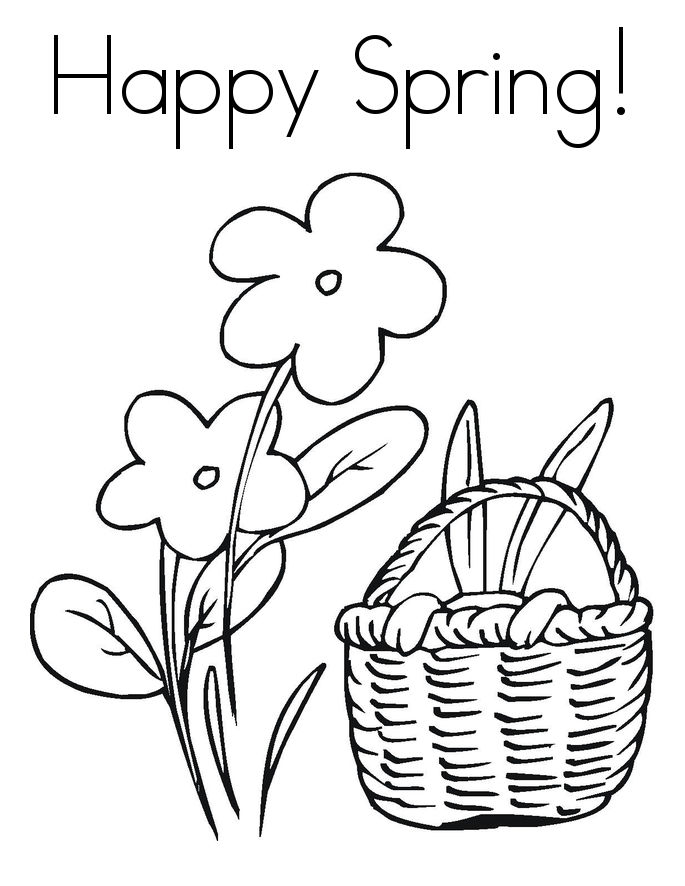 Happy Spring Its April Coloring Page
