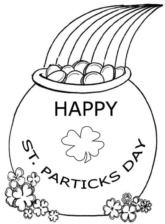 Happy St Patricks Day Pot Of Gold Coloring