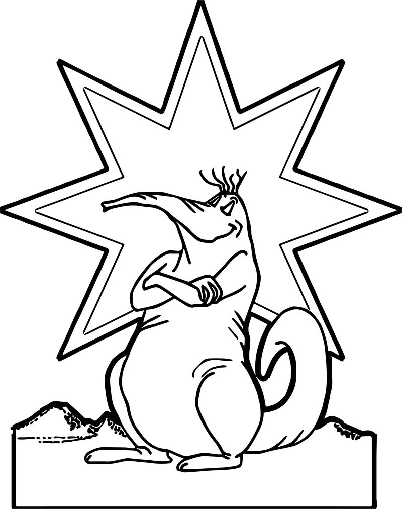 Happy Star Animal Coloring Page
