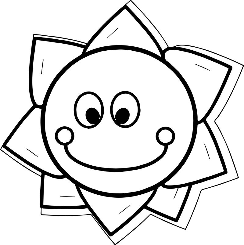 Happy Star Flower Coloring Page