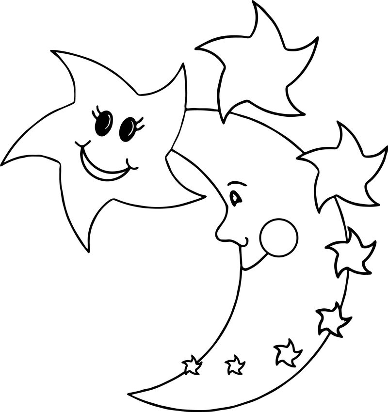 Happy Star Moon Coloring Page