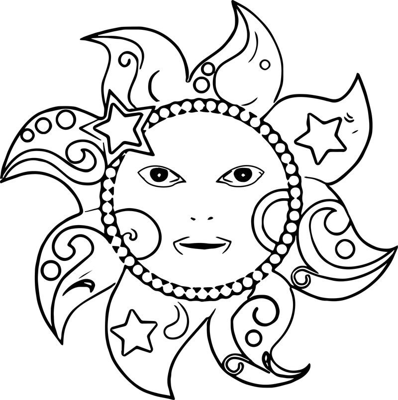 Happy Star Sun Coloring Page