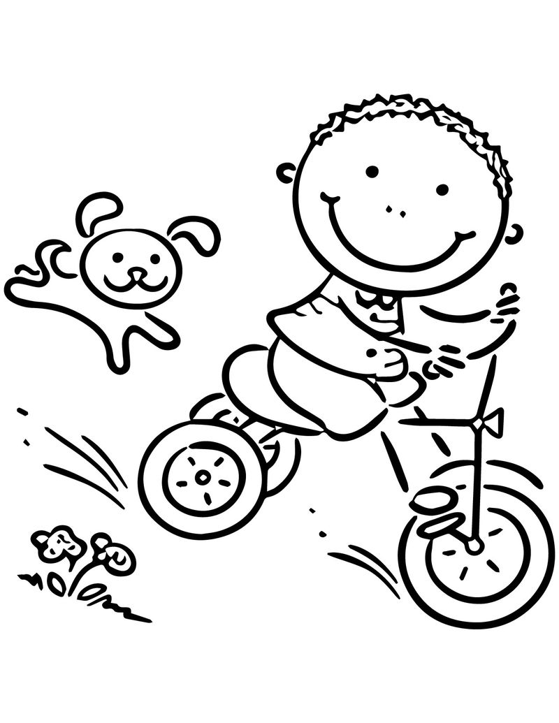 Happy Summer Boy Riding Bicycle Coloring Page