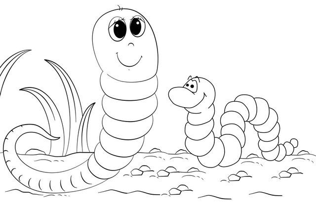 Happy Two Worms Coloring Page