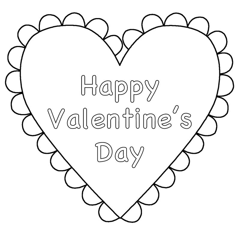 Happy Valentine Heart Coloring Page