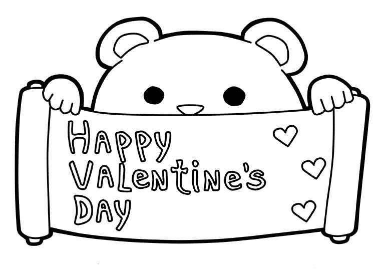 Happy Valentines Day Coloring Pages Bear