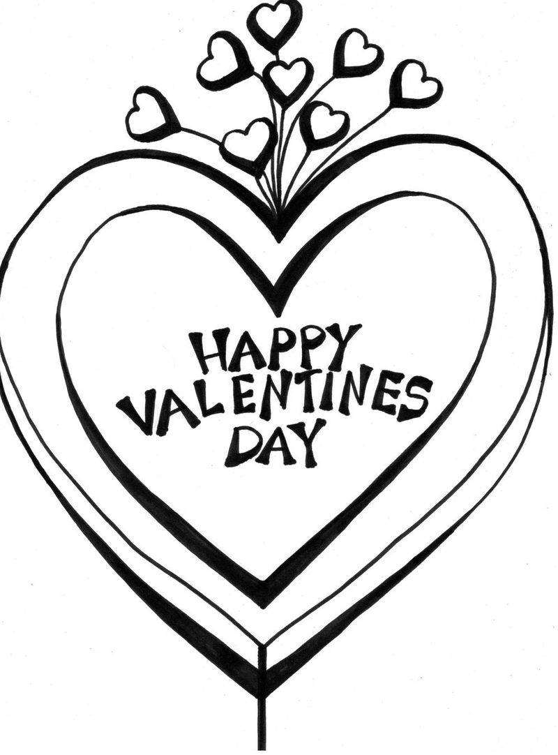 Happy Valentines Day Coloring Pages Hearts