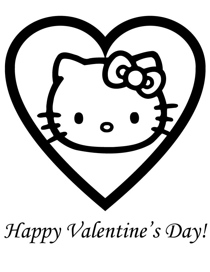 Happy Valentines Day Coloring Pages Hello Kitty Heart