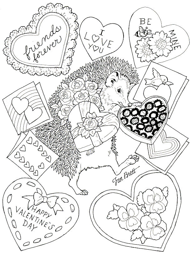 Happy Valentines Day Coloring Pages Porcupine