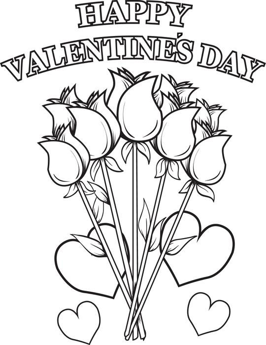 Happy Valentines Day Coloring Pages Roses