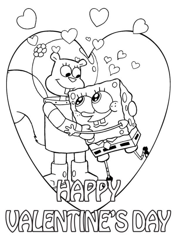 Happy Valentines Day Coloring Pages Spongebob And Sandy
