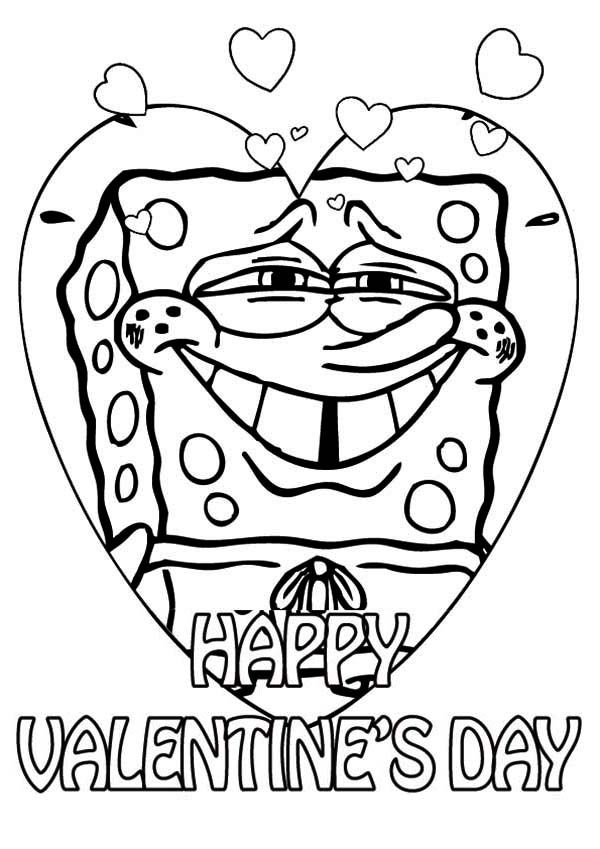 Happy Valentines Day Coloring Pages Spongebob