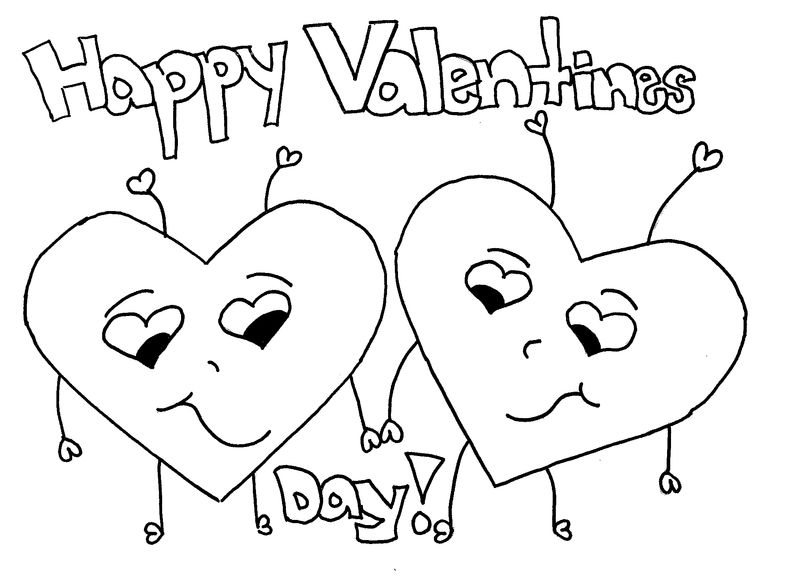 Happy Valentines Day Coloring Pages Two Hearts