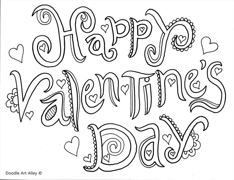 Happy Valentines Day Printable Card For Adults To Color