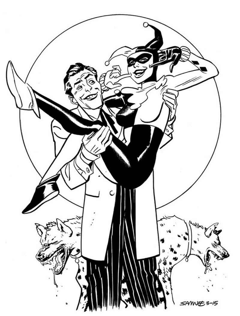 Harley Quinn Coloring Page Free
