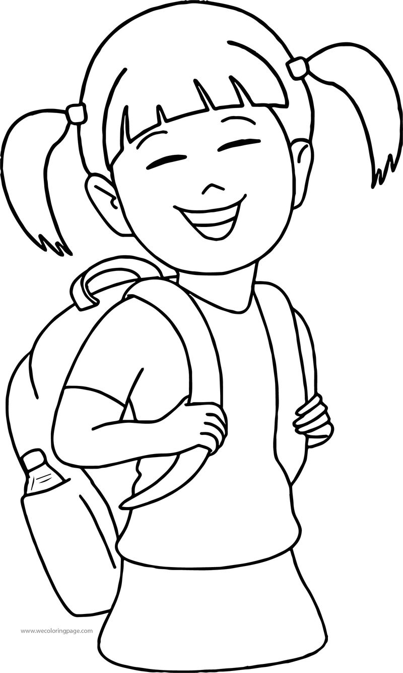 Have School Bag Girl Coloring Page