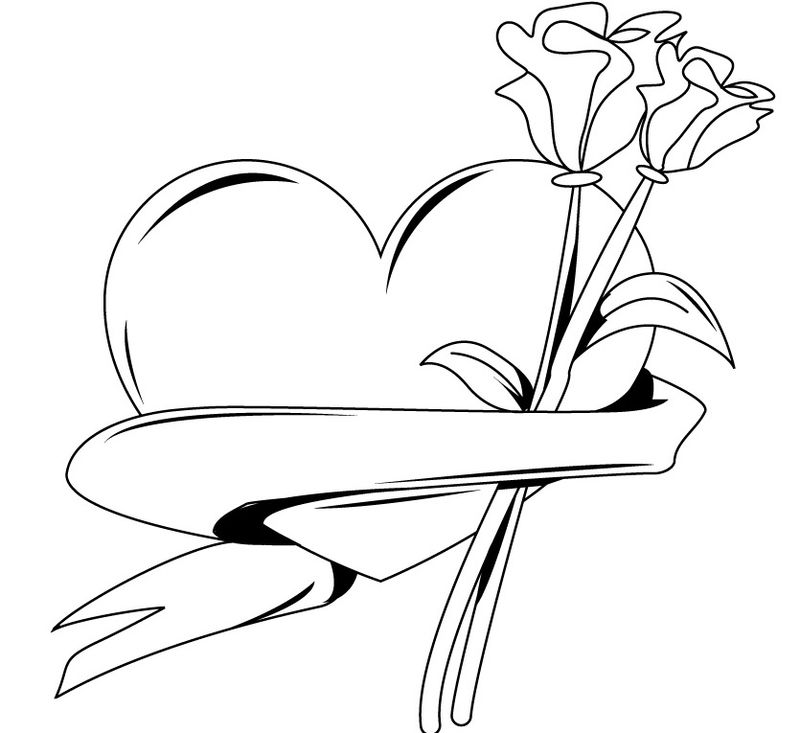 Hearts And Flower Coloring Pages