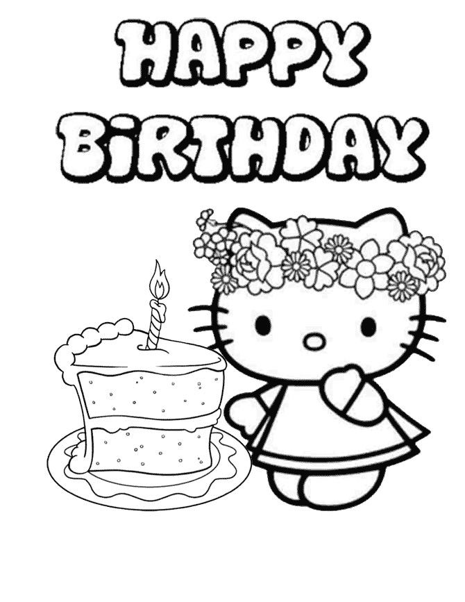 Hello Kitty Birthday Cake Coloring Pages 001