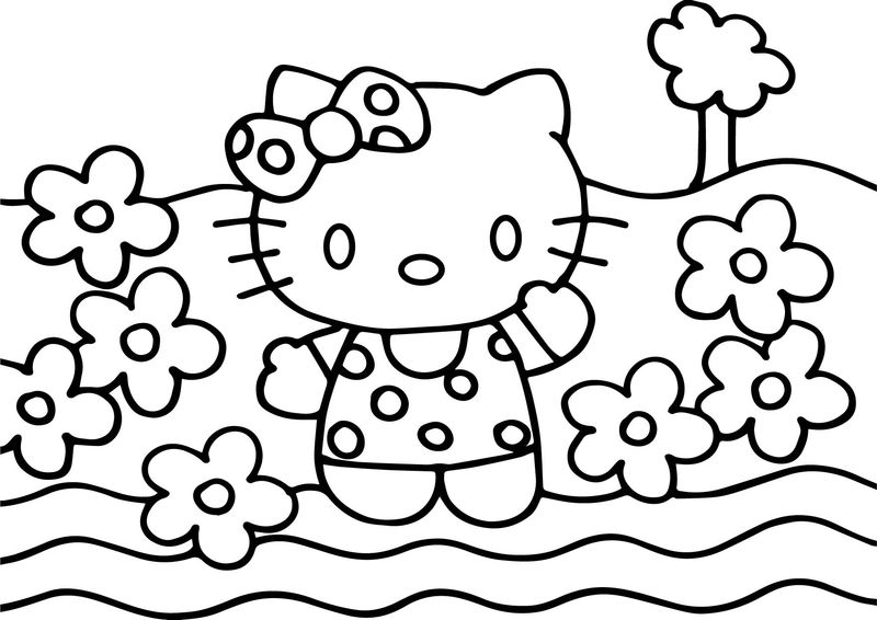 Hello Kitty Coloring Page Flower