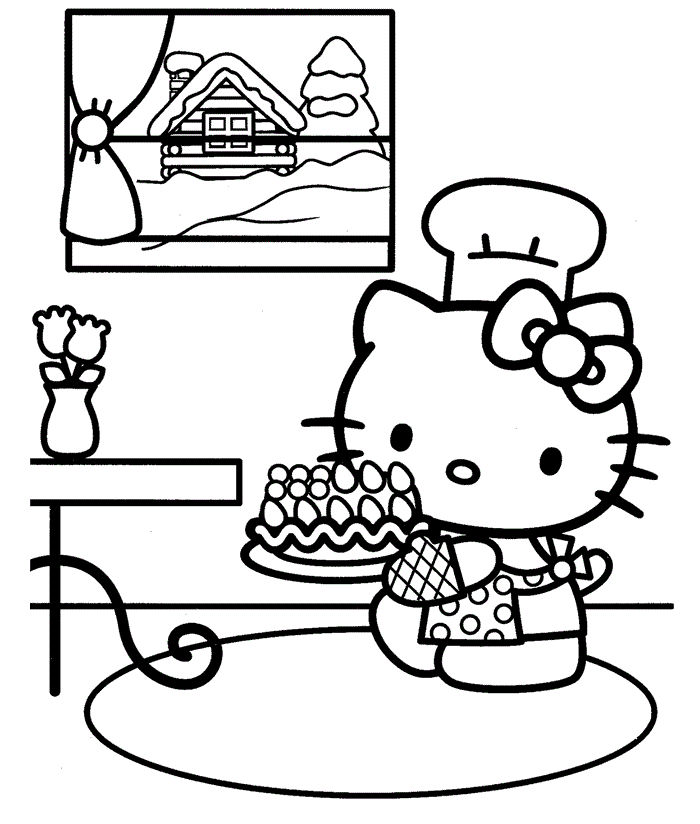 Hello Kitty Coloring Pages Happy Birthday 1