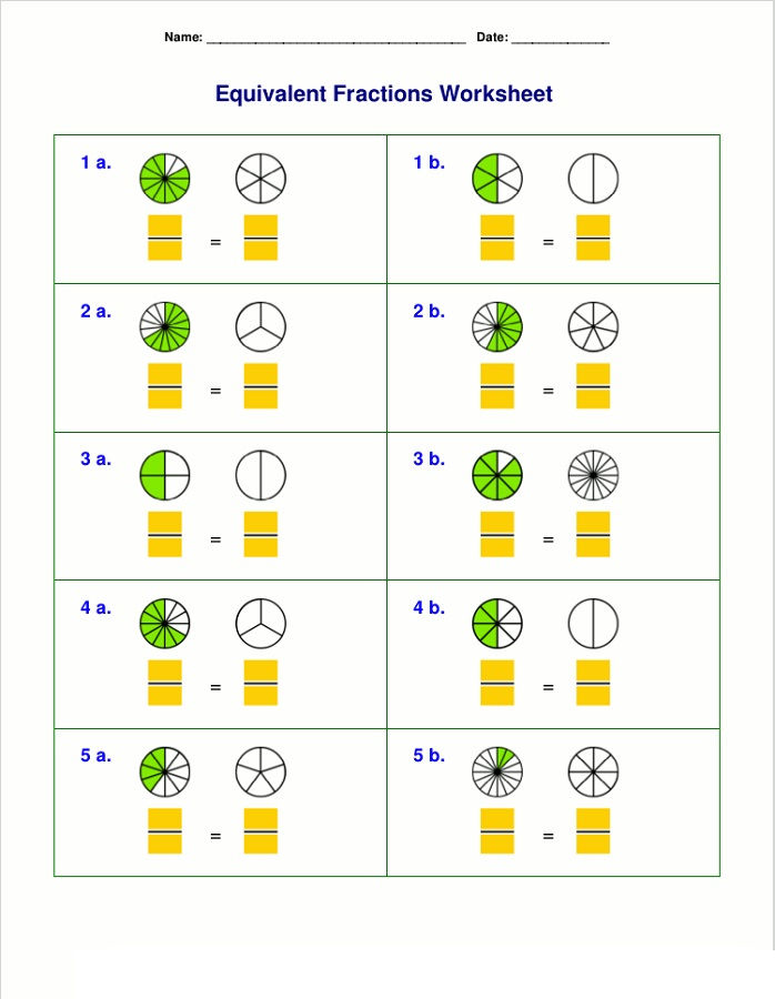 Homeschool Worksheets Fraction