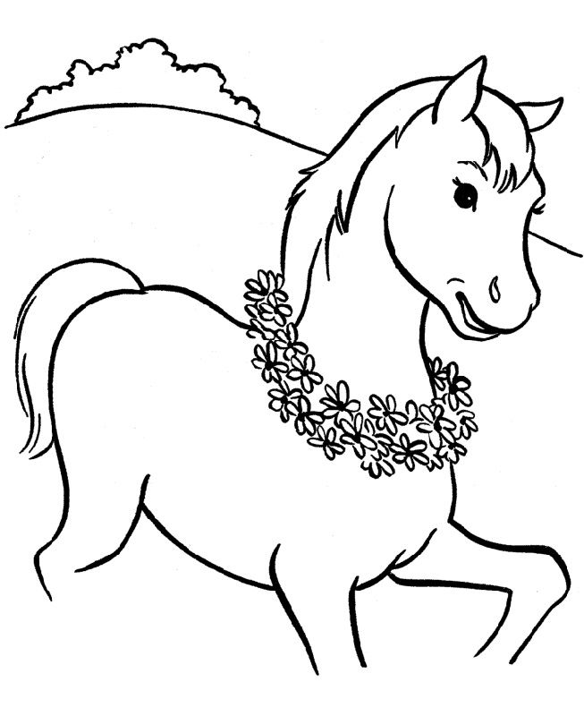 Horse Color Pages Flowers 001