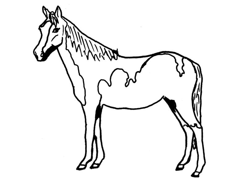 Horse color pages simple 001