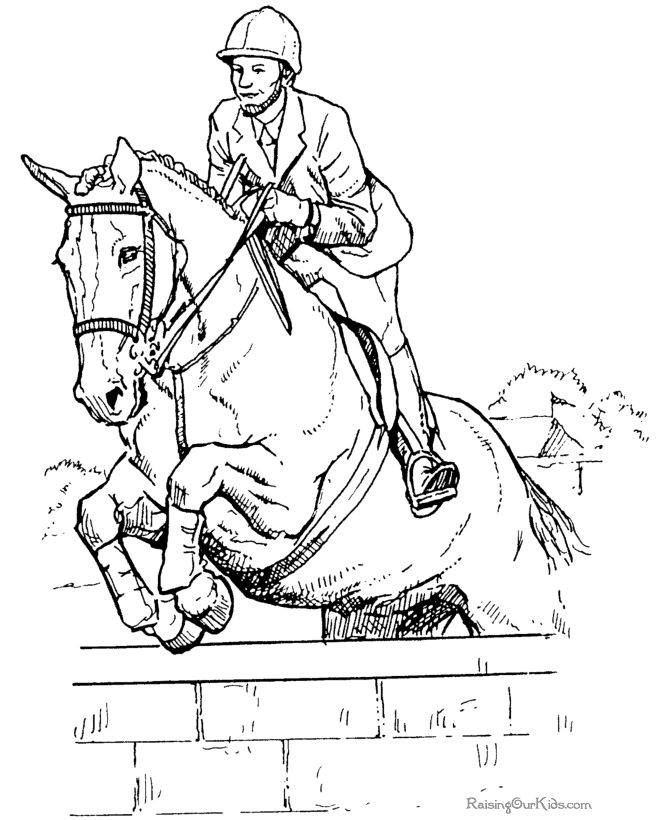 Horse Jumping Coloring Page 1