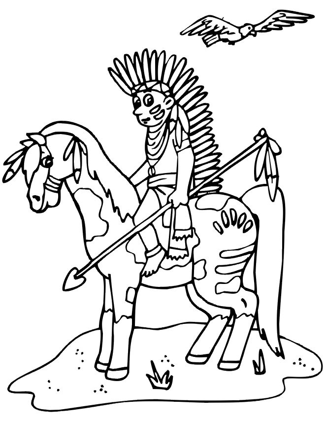 Horse Native American Coloring Pages