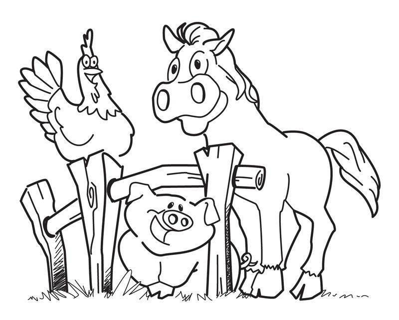 Horse Pig Chicken Farm Coloring Pages